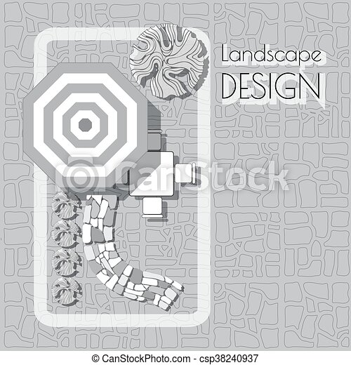 Plan Of Garden With Furniture Symbols Stones Pathway Plants Plan