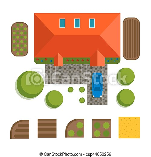 Plan of private house vector illustration - csp44050256