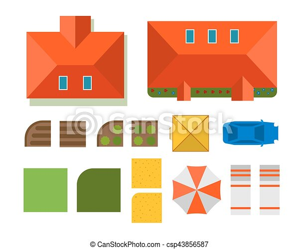 Plan of private house vector illustration - csp43856587