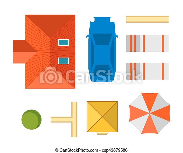 Plan of private house vector illustration - csp43879586