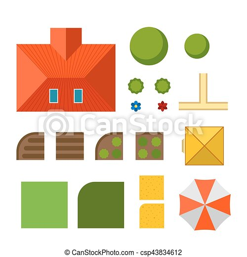 Plan of private house vector illustration - csp43834612