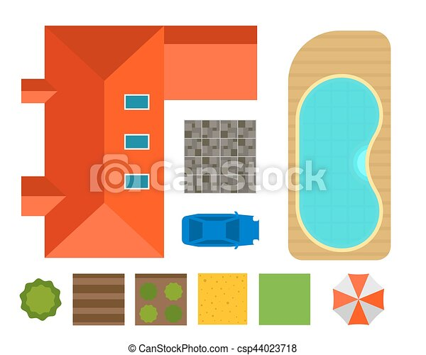Plan of private house vector illustration - csp44023718