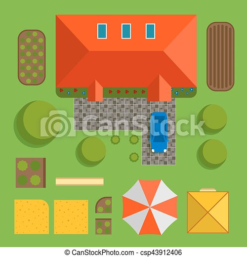 Plan of private house vector illustration - csp43912406