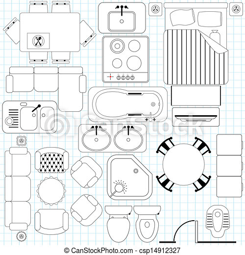 Muebles simples. Plan de piso - csp14912327