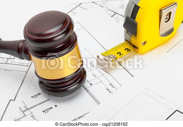 plan, pousse, bois, -, juge, construction, bande, au-dessus, mesure, marteau, studio - csp21208162