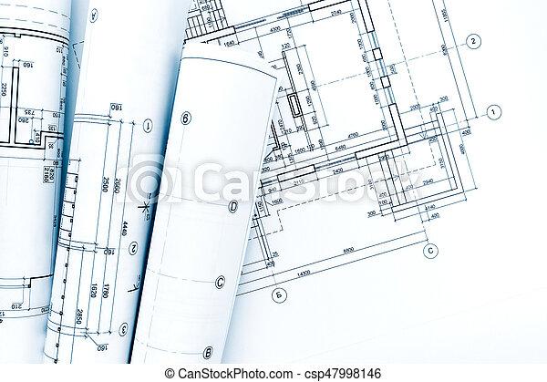 Plan, Projet, Maison, Dessins, Plan, Architectural,  Photo De