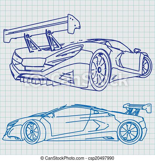 plan, voiture, croquis, sports - csp20497990