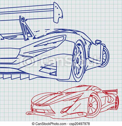 plan, voiture, croquis, sports - csp20497978