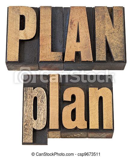 plan word in letterpress wood type - csp9673511