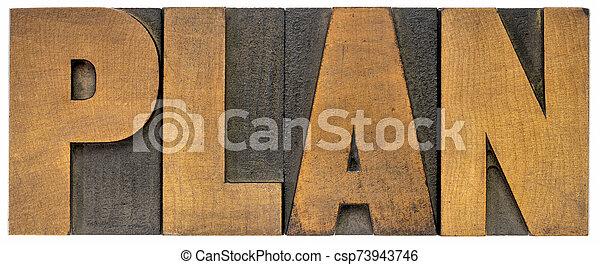 plan word in letterpress wood type - csp73943746
