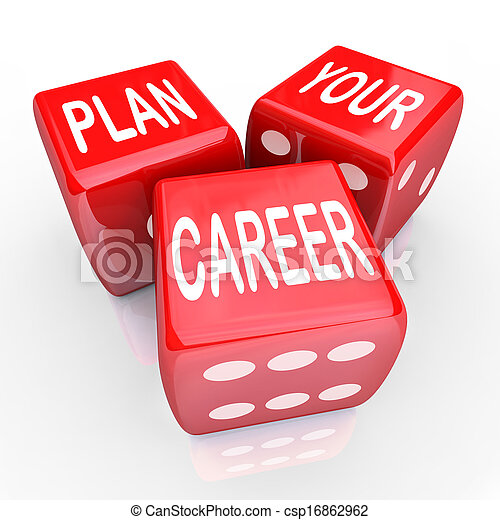 Plan Your Career Dice Gamble Future Opportunity - csp16862962