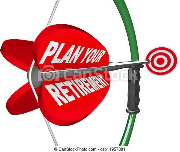 Plan Your Retirement Bow Arrow Target Financial Savings - csp11957881