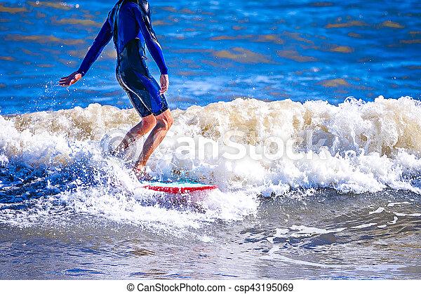 planche surf, vague, mec, océan, équitation, surfeur - csp43195069