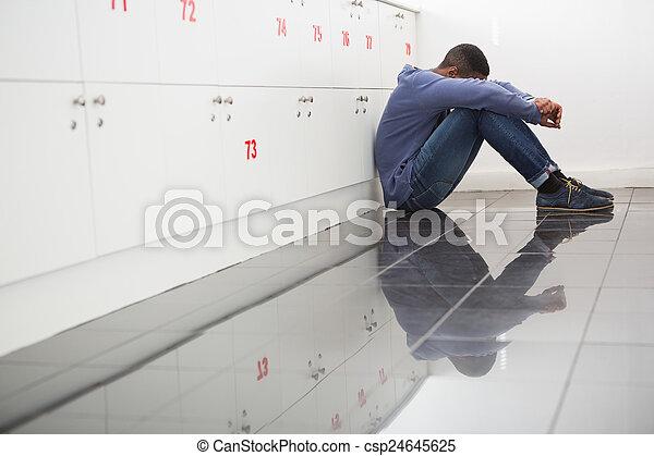 plancher, étudiant, université, solitaire, séance - csp24645625