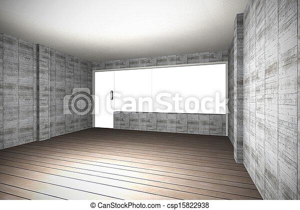 plancher mur b ton bois nu int rieur vide rendu. Black Bedroom Furniture Sets. Home Design Ideas