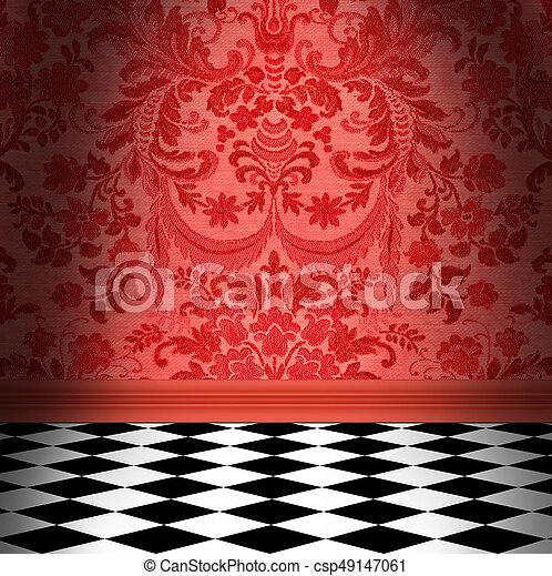 Plancher Papier Peint Damasse Damier Noir Carreau Blanc Rouge