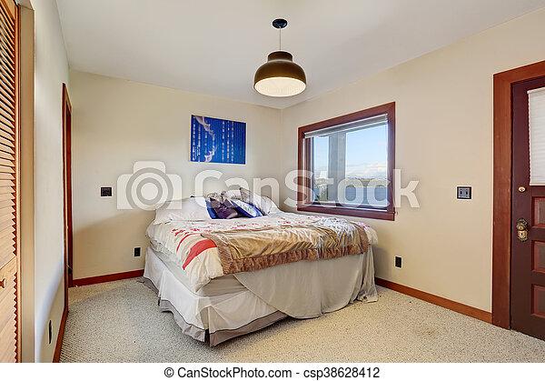 Plancher Simple Une Murs Chambre à Coucher Blanc Lit Moquette