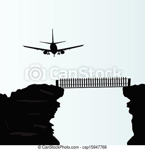 plane above the bridge on the cliff vector illustration - csp15947766