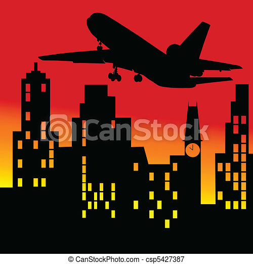 plane above the building vector ill - csp5427387