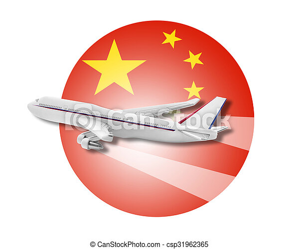 plane and china flag plane on the background flag of the china