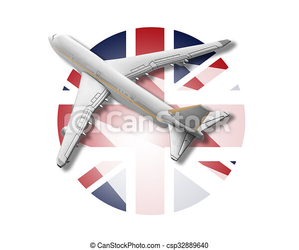 plane and united kingdom flag plane on the background flag of the