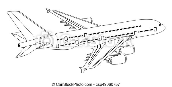 plane commercial jet aeroplane flying in isolated background vector
