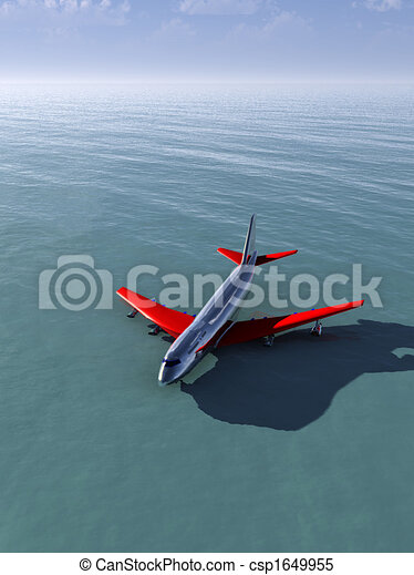 plane crash in sea a plane that has crashed into the sea