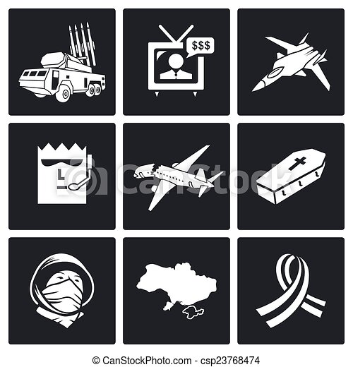 Plane crash Vector Icons Set - csp23768474