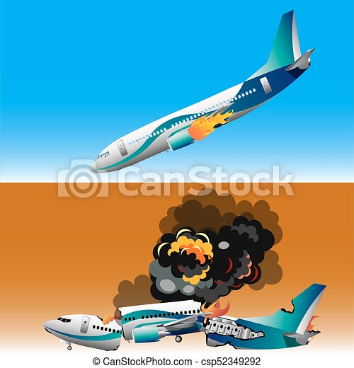 Plane crash with fire. Plane crashwith fire. vector ...