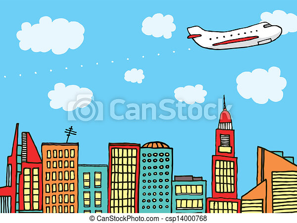 Plane flying above the city - csp14000768