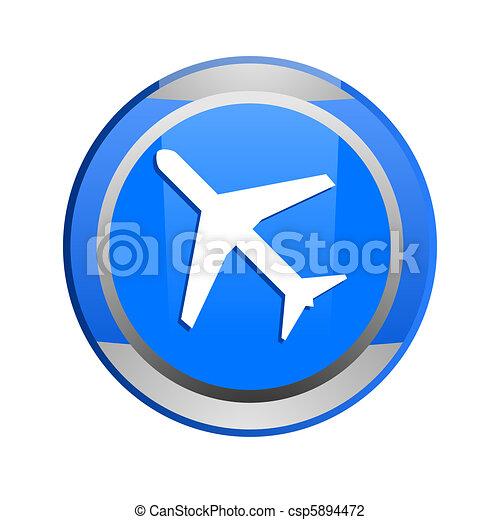 plane glossy icon - csp5894472