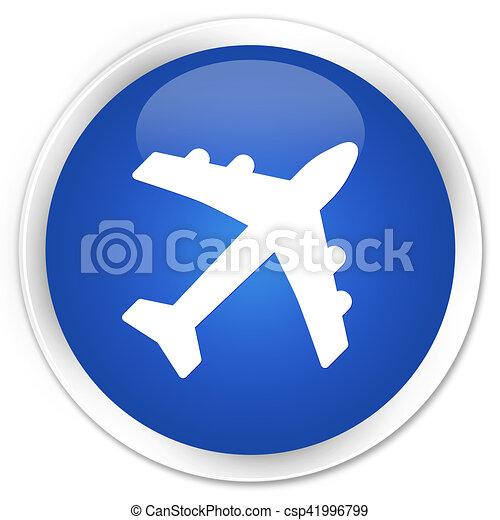 Plane icon blue glossy round button - csp41996799