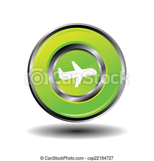 Plane icon button vector green - csp22184727