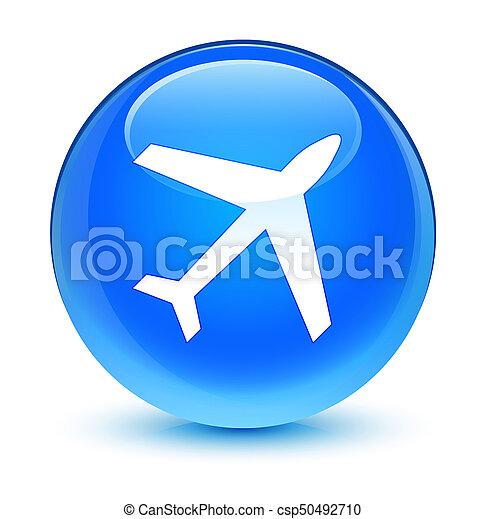 Plane icon glassy cyan blue round button - csp50492710