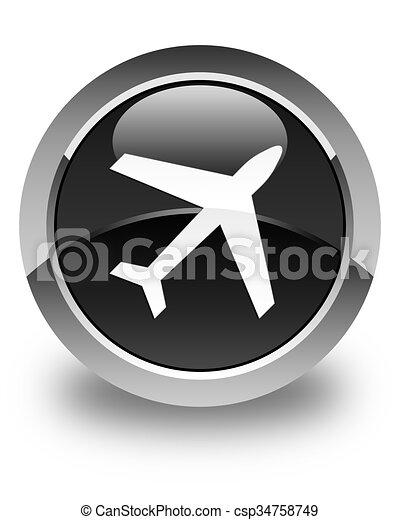Plane icon glossy black round button - csp34758749
