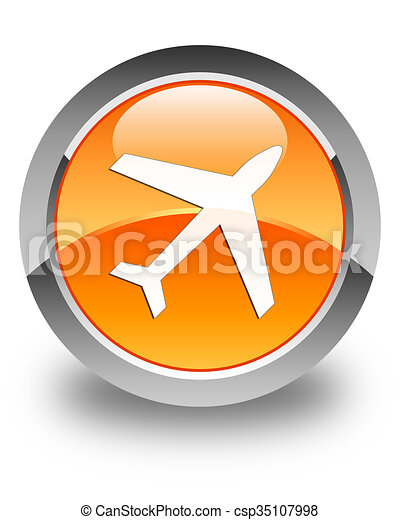 Plane icon glossy orange round button 2 - csp35107998