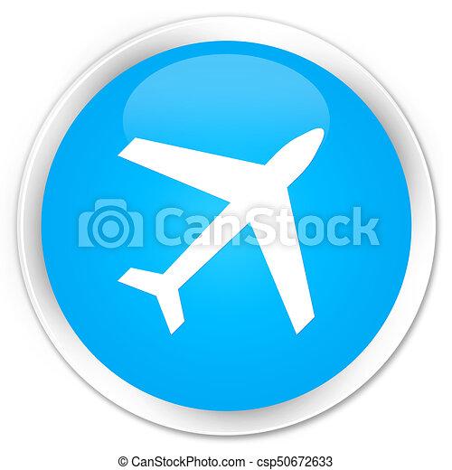 Plane icon premium cyan blue round button - csp50672633