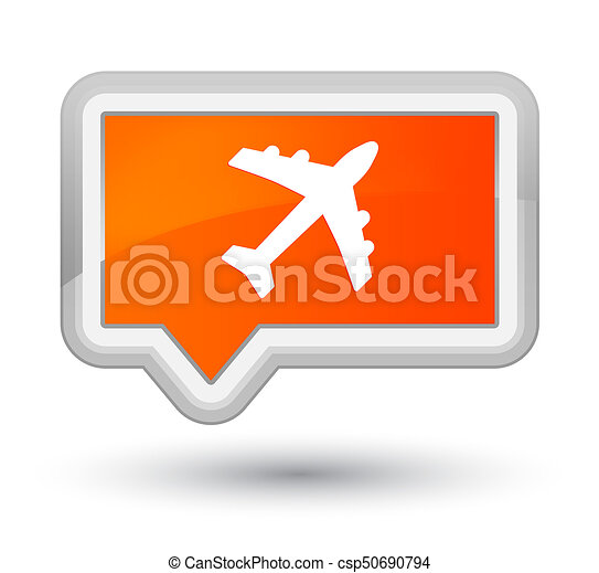 Plane icon prime orange banner button - csp50690794