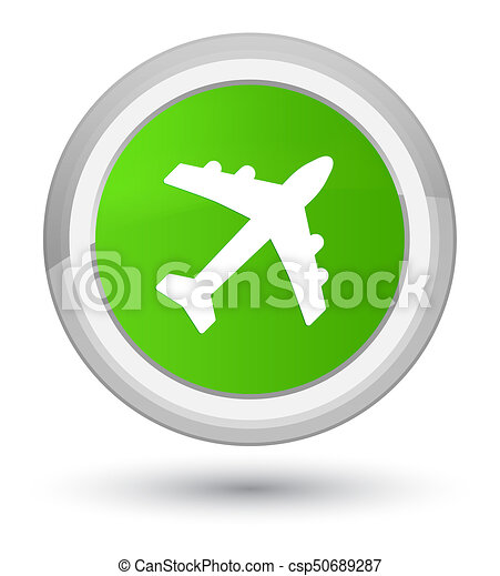 Plane icon prime soft green round button - csp50689287