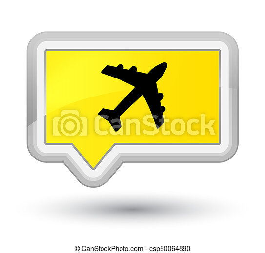 Plane icon prime yellow banner button - csp50064890