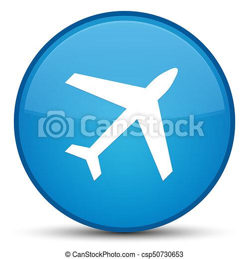 Plane icon special cyan blue round button - csp50730653