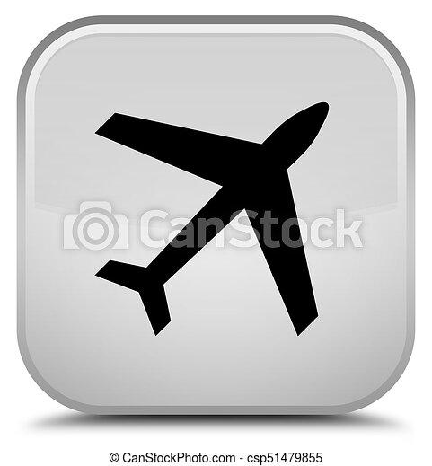 Plane icon special white square button - csp51479855