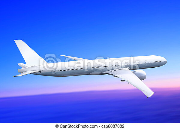 plane in the blue sky - csp6087082
