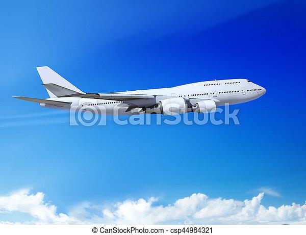 plane in the heaven landing away - csp44984321