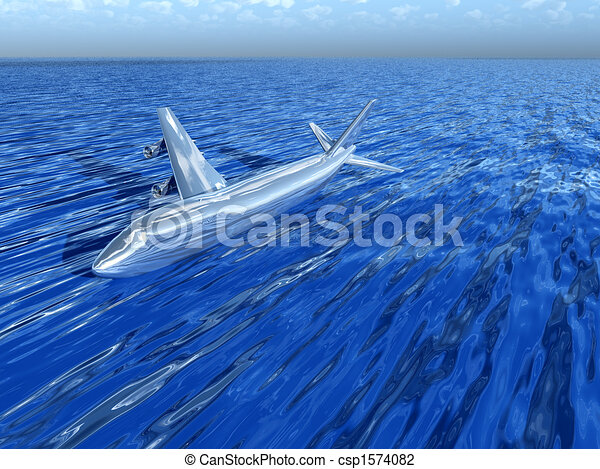 Plane In Water - csp1574082