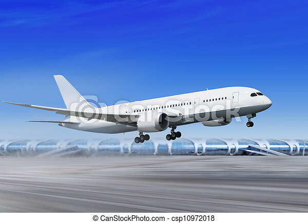 plane is landing in airport l - csp10972018