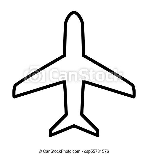 Plane Line Icon Vector Simple Minimal 96x96 Pictogram Plane Line