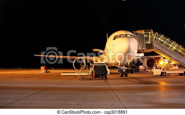 Plane Night Shot Of Airplane On Tarmac