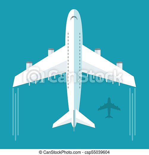 Plane or airplane in the sky vector illustration in flat style - csp55039604