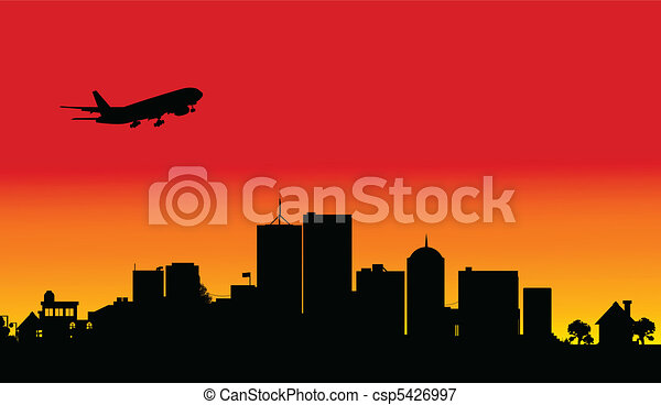 plane over the city one illustratio - csp5426997